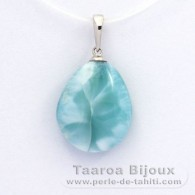 Rhodiated Sterling Silver Pendant and 1 Larimar - 18 x 15 x 7.5 mm - 3.3 gr