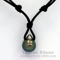 Waxed Cotton Necklace and 1 Tahitian Pearl Ringed C 11.5 mm