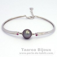 Rhodiated Sterling Silver Bracelet and 1 Tahitian Pearl Round C 10.5 mm