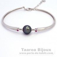 Rhodiated Sterling Silver Bracelet and 1 Tahitian Pearl Near-Round A 9.8 mm
