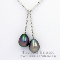 .925 Solid Silver Necklace and 2 Tahitian Pearls Semi-Baroque B 9.5 and 9.9 mm