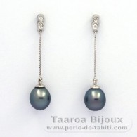 Rhodiated Sterling Silver Earrings and 2 Tahitian Pearls Semi-Baroque B 8 mm