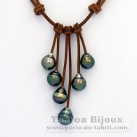 Leather Necklace and 6 Tahitian Pearls Ringed C from 9.9 to 10.4 mm