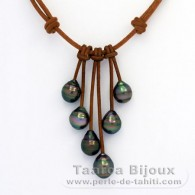 Leather Necklace and 6 Tahitian Pearls Ringed C from 9.3 to 10 mm