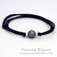 Waxed Cotton Necklace and 1 Tahitian Pearl Round C 9.7 mm