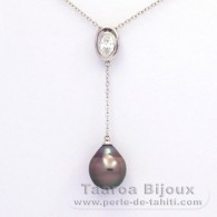 Rhodiated Sterling Silver Necklace and 1 Tahitian Pearl Semi-Baroque B 10.2 mm