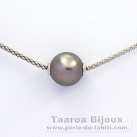 Rhodiated Sterling Silver Necklace and 1 Tahitian Pearl Round C 11.5 mm