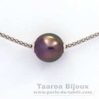 Rhodiated Sterling Silver Necklace and 1 Tahitian Pearl Semi-Baroque B 11.3 mm