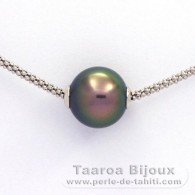 Rhodiated Sterling Silver Necklace and 1 Tahitian Pearl Round C 11.4 mm