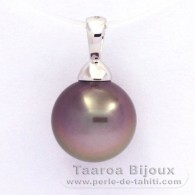 18K Solid White Gold Pendant and 1 Tahitian Pearl Round B 11.3 mm