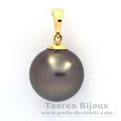 18K solid Gold Pendant and 1 tahitian Pearl Round B 11.9 mm