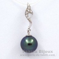 .925 Solid Silver Pendant and 1 Tahitian Pearl Round C+ 10.3 mm