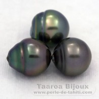 Lot of 3 tahitian Pearls Semi-Baroque C from 12.1 to 12.4 mm