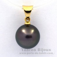 18K solid Gold Pendant and 1 Tahitian Pearl Round B 9.4 mm