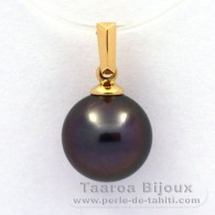 18K solid Gold Pendant and 1 tahitian Pearl Round B 9.3 mm