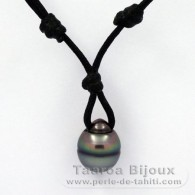 Waxed Cotton Necklace and 1 tahitian Pearl Ringed C 11.6 mm