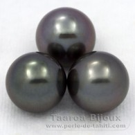 Lot of 3 tahitian Pearls Round C from 11.5 to 11.9 mm