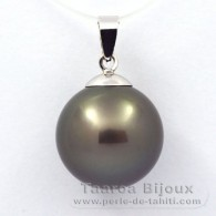 18K Solid White Gold Pendant and 1 tahitian Pearl Round B 13.5 mm