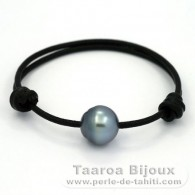 Leather Bracelet and 1 Tahitian Pearl Ringed C 13 mm