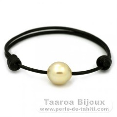 Leather Bracelet and 1 Australian Pearl Semi-Baroque C 12.8 mm
