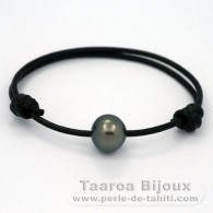 Leather Bracelet and 1 tahitian Pearl Semi-Baroque C 12.2 mm