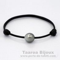 Leather Bracelet and 1 tahitian Pearl Semi-Baroque C 11.5 mm