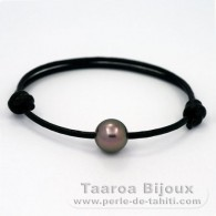 Leather Bracelet and 1 tahitian Pearl Round C 10.8 mm