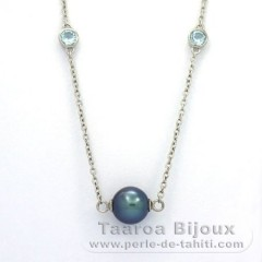 .925 Solid Silver Necklace and 5 Tahitian Pearls Near-Round C  8.5 to 9.1 mm