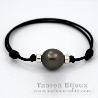 Waxed Cotton Bracelet and 1 Tahitian Pearl Semi-Baroque C 13.6 mm