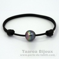 Leather Bracelet and 1 Tahitian Pearl Semi-Baroque C 12.4 mm