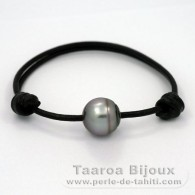 Leather Bracelet and 1 Tahitian Pearl Ringed C 12.8 mm