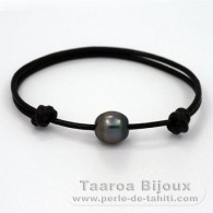 Leather Bracelet and 1 tahitian Pearl Semi-Baroque C 10.7 mm