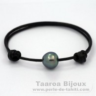 Leather Bracelet and 1 Tahitian Pearl Semi-Baroque C 11.8 mm