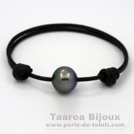 Leather Bracelet and 1 Tahitian Pearl Semi-Baroque C 12.6 mm