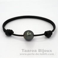 Leather Bracelet and 1 tahitian Pearl Semi-Baroque C 12.5 mm