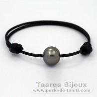 Leather Bracelet and 1 Tahitian Pearl Semi-Baroque C 13.5 mm