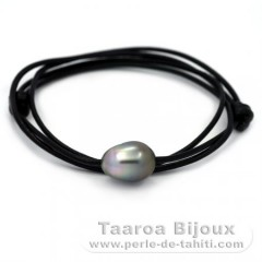 Leather Necklace and 1 Tahitian Pearl Baroque C 12.8 mm