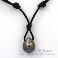 Waxed Cotton Necklace and 1 Tahitian Pearl Ringed C 12.6 mm