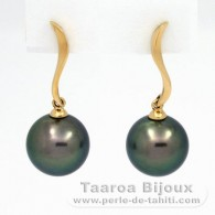 18K solid Gold Earrings and 2 Tahitian Pearls Round B 10.4 mm