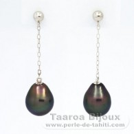 14K solid Gold Earrings and 2 Tahitian Pearls Semi-Baroque A/B 8 mm