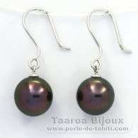 18K Solid White Gold Earrings and 2 Tahitian Pearls Near-Round B 9.7 mm