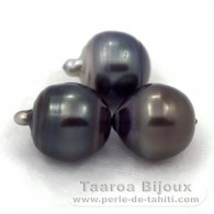 Lot of 3 tahitian Pearls Ringed D from 12.5 to 12.7 mm