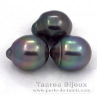 Lot of 3 Tahitian Pearls Semi-Baroque B from 10.5 to 10.7 mm
