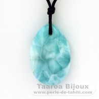 Nylon Necklace and 2 Larimar - 35 x 22.5 x 8.5 mm - 11.67 gr and 1.03 gr