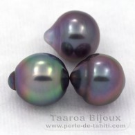 Lot of 3 Tahitian Pearls Semi-Baroque B from 9 to 9.2 mm