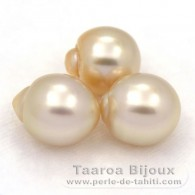 Lot of 3 Australian Pearls Semi-Baroque B from 10.6 to 10.9 mm