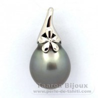 Rhodiated Sterling Silver Pendant and 1 Tahitian Pearl Semi-Baroque C 14.4 mm