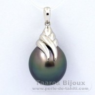 Rhodiated Sterling Silver Pendant and 1 Tahitian Pearl Semi-Baroque C 13.8 mm