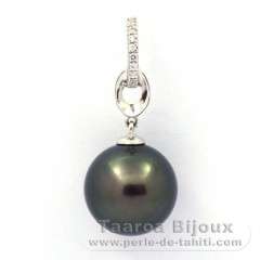 Rhodiated Sterling Silver Pendant and 1 Tahitian Pearl Round C 12 mm