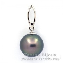 .925 Solid Silver Pendant and 1 Tahitian Pearl Round C 12.5 mm